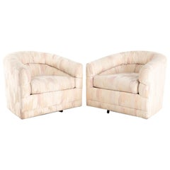 Rowe Mid Century Barrel Swivel Lounge Chairs, Pair