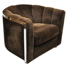 Rowe Mid-Century Modern Chrome Trim Baughman Style Upholstered Club Lounge Chair