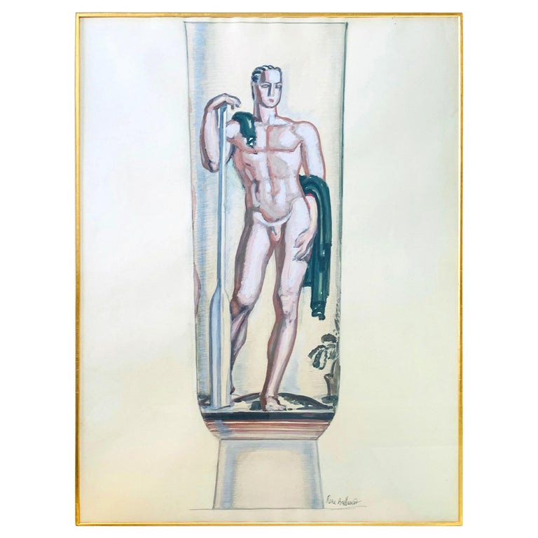 """Rower,"" Large and Rare Art Deco Painting of Oarsman for Mosaic Urn in Bordeaux For Sale"