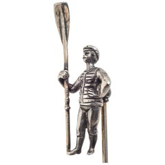 Antique Rower Oarsman Silver Tie Stick Pin