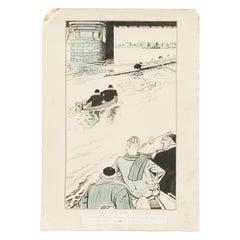 Rowing Artwork, Hand Coloured Rowing Print, Lee