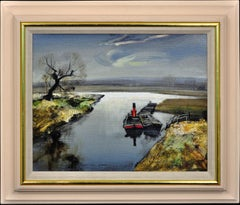 River Bure, Norfolk. Oil Painting. English Rural Landscape. Tug Boat and Barges.