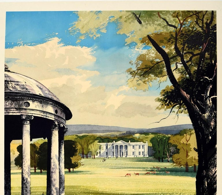 Original Vintage Poster Country Houses In Britain Travel Painting Landscape Art - Print by Rowland Hilder