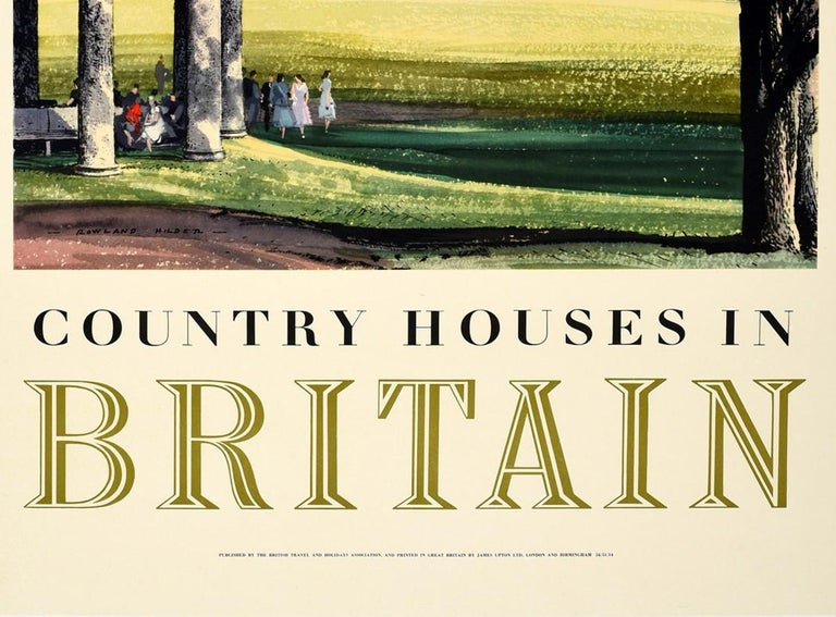 Original Vintage Poster Country Houses In Britain Travel Painting Landscape Art - Beige Print by Rowland Hilder