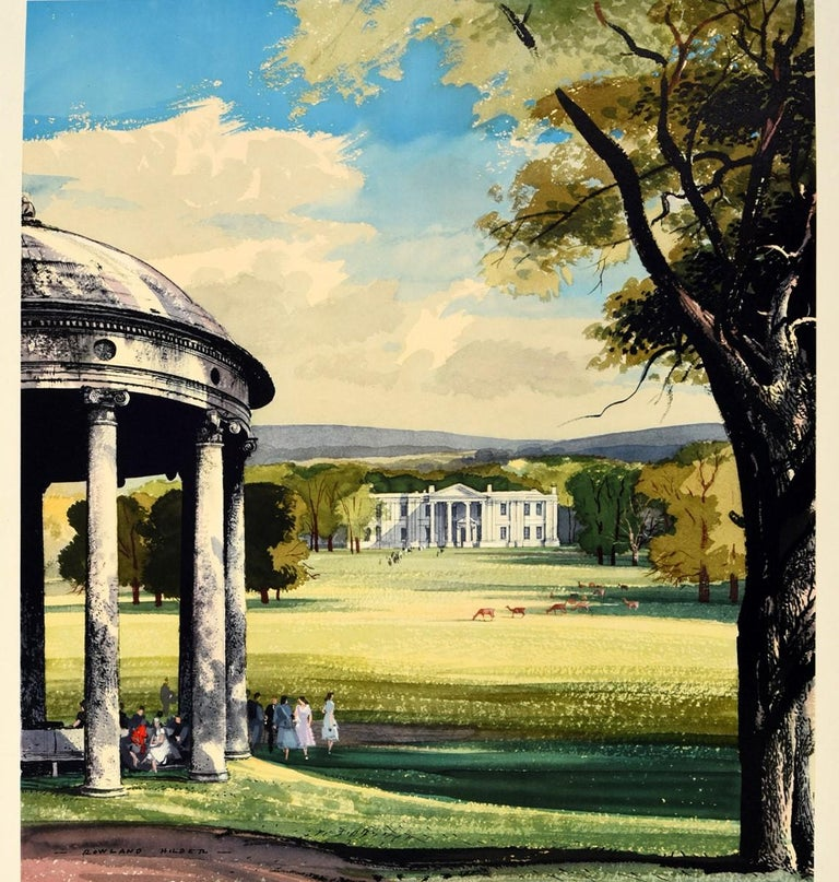 Original vintage travel poster - Country Houses In Britain - featuring great artwork by the notable British painter Rowland Hilder (1905-1933) depicting an idyllic scene of a grand countryside estate with people sitting under and walking by a