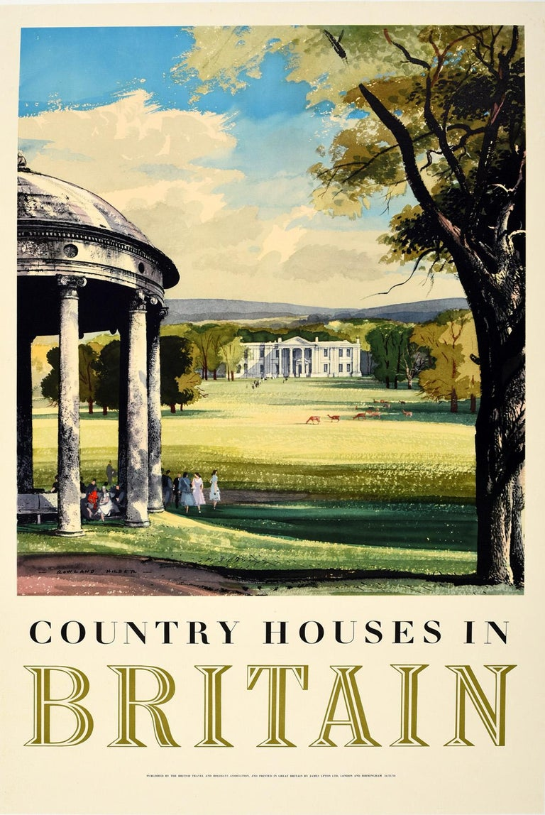 Rowland Hilder Print - Original Vintage Poster Country Houses In Britain Travel Painting Landscape Art