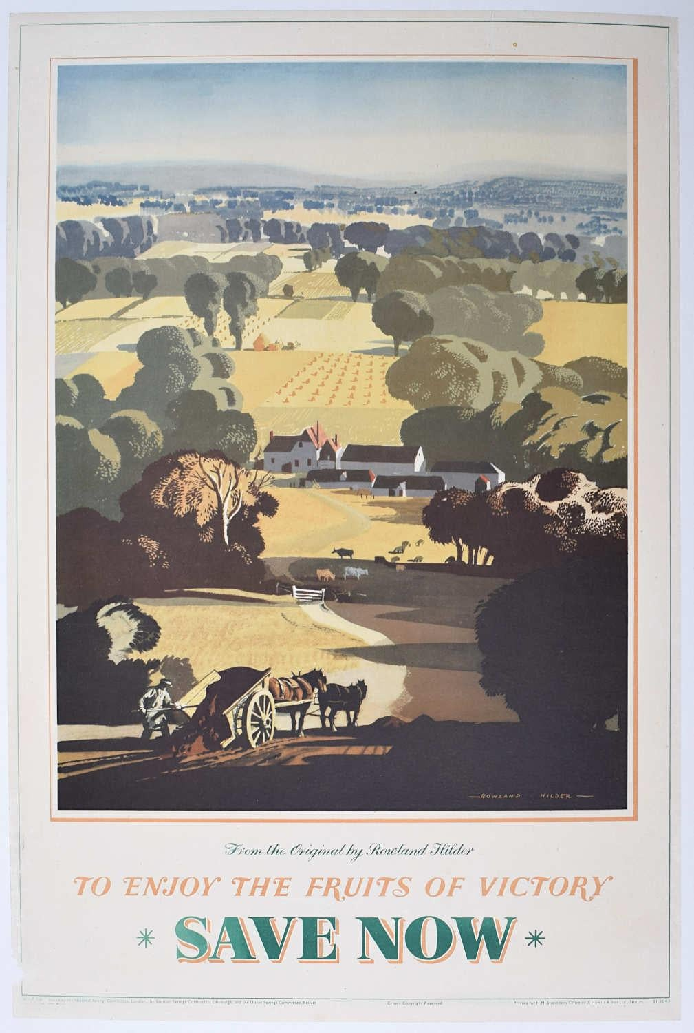 Rowland Hilder Save Now Enjoy the Fruits of Victory Poster National Savings 1945