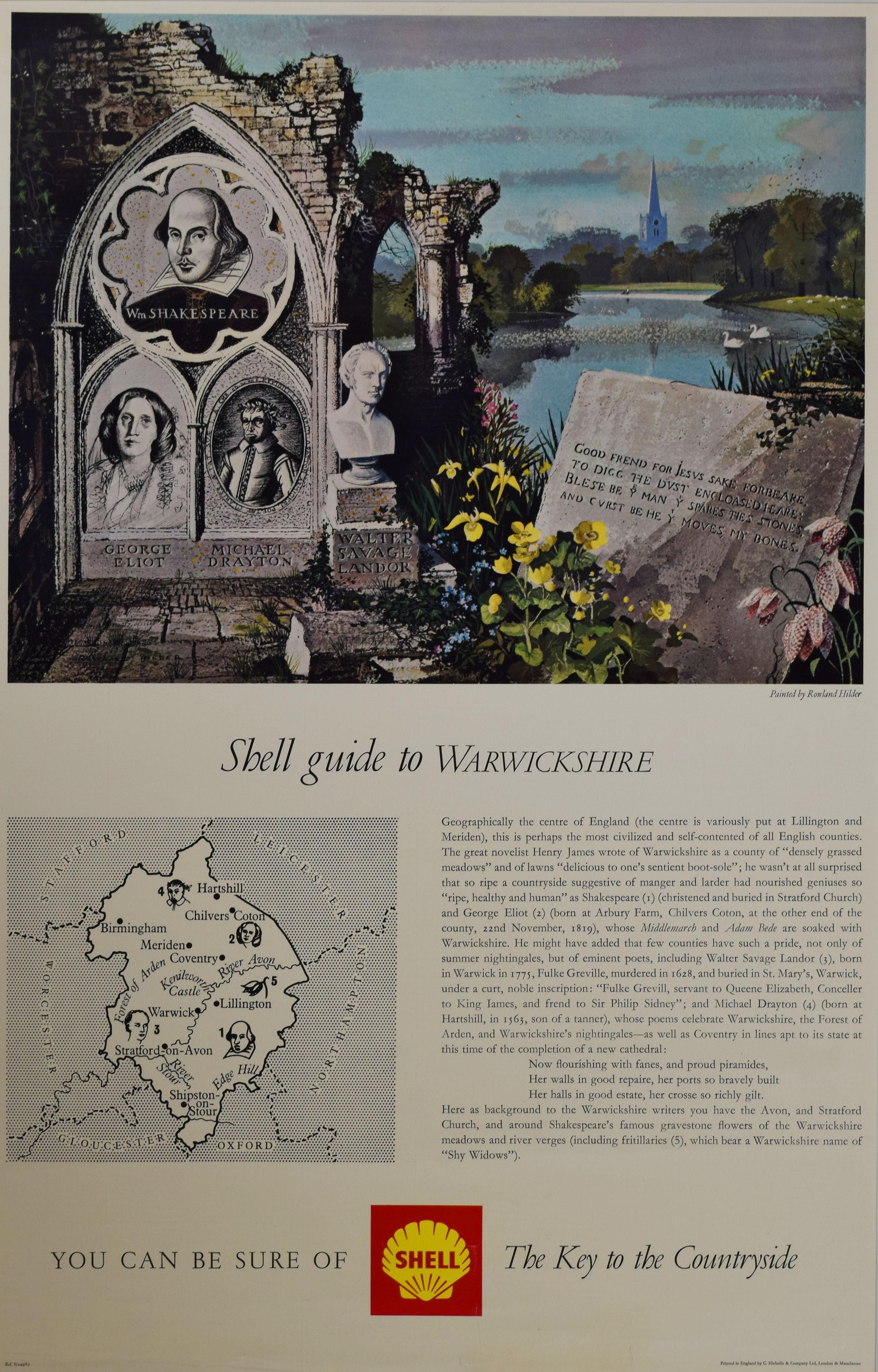Rowland Hilder Shell Guide to Warwickshire advertising poster Modern British Art