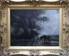 Watering Horses - British Edwardian Impressionist art oil painting female artist