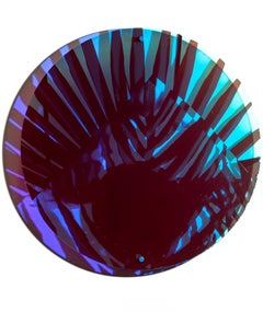 """Circle II"", Holographic, Mirrored, Reflective, Wall-Hanging Colorful Sculpture"