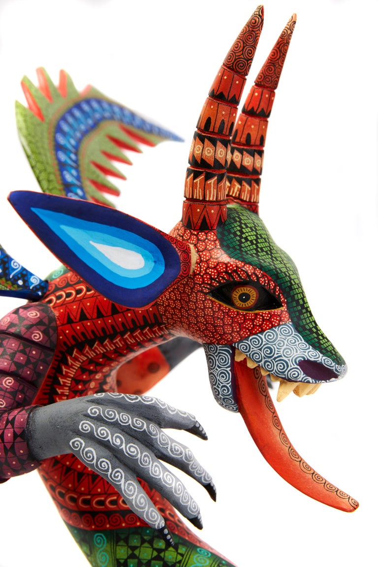 Dragon Fantastico - Fantastic Dragon Alebrije - Mexican Folk Art - Wood Carving  For Sale 9