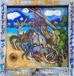 Mixed Media Crab Painting -- Se Venden Jueyes