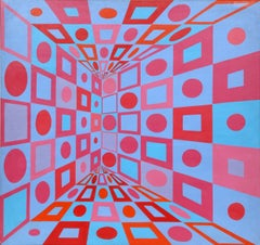 Red Blue Variations, OP Art Painting by Roy Ahlgren