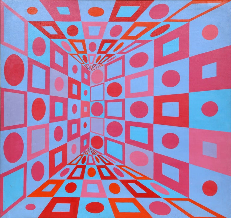 An acrylic painting by Roy Ahlgren circa 1970. A geometric abstract painting utilizing bright contrasting color blocks in a modern form. Signed verso, unframed.   Artist: Roy Ahlgren, American (1927 - 2011) Title: Red Blue Variations Year: Circa
