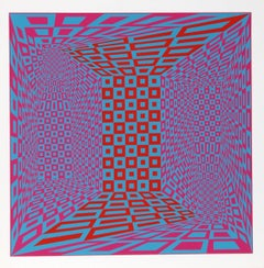 "Concatenation"" OP Art Silkscreen by Roy Ahlgren"
