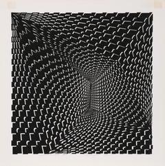 Concave Triad II, Op Art Serigraph by Roy Ahlgren