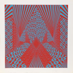 """Conceptual Perspective IV"", 1969, Serigraph by Roy Ahlgren"