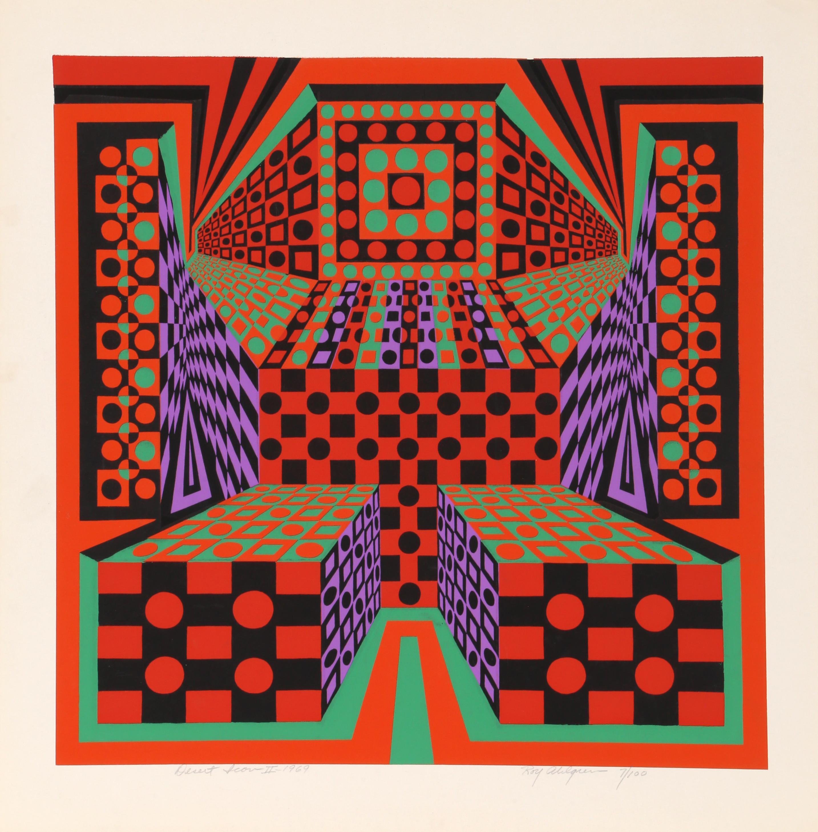 Desert Icon II, OP Art Silkscreen by Roy Ahlgren