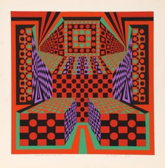 Desert Icon II, OP Art Silkscreen by Roy Ahlgren
