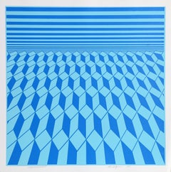 Environment (Blue), OP Art Serigraph by Roy Ahlgren