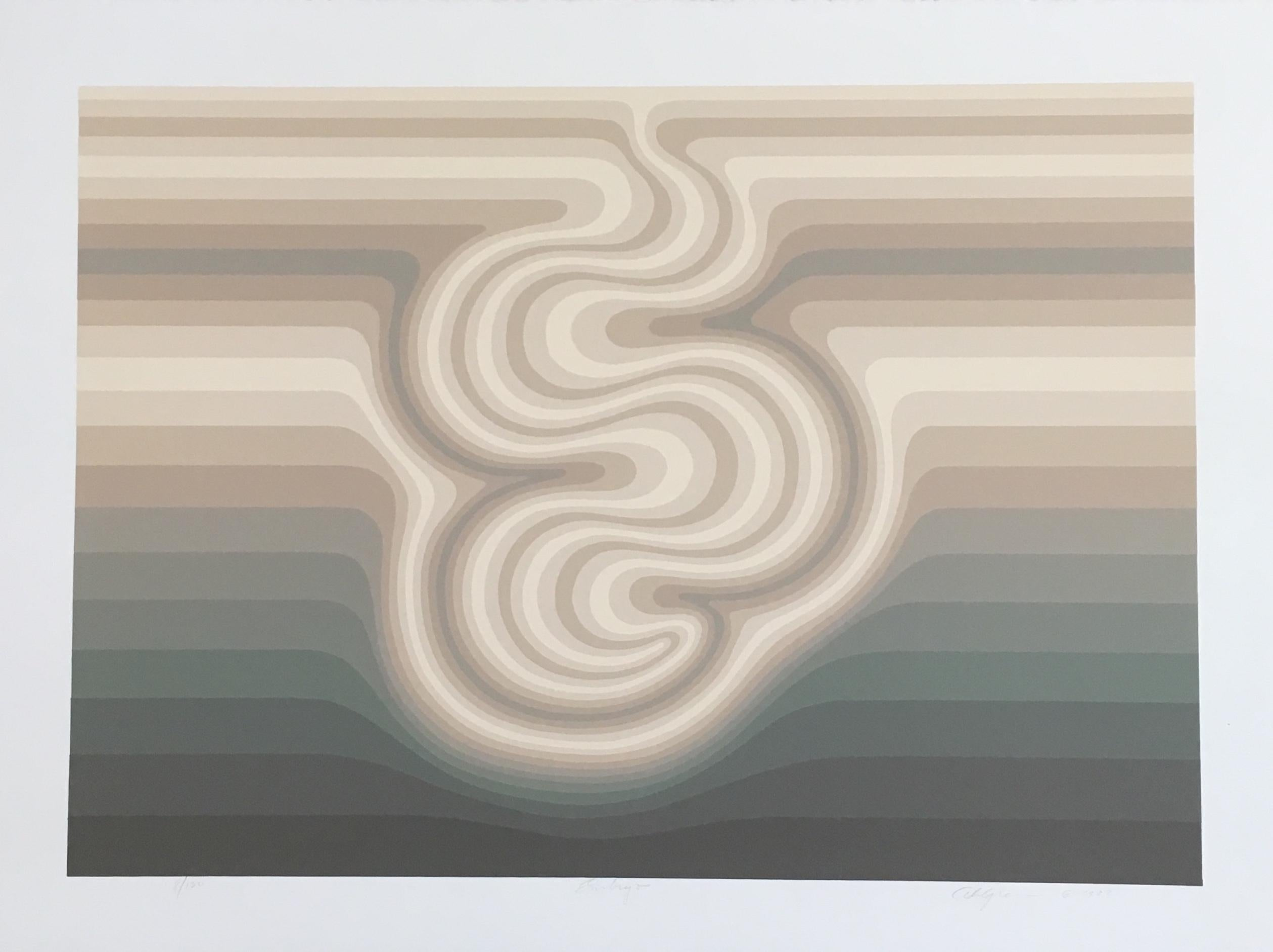 Roy Ahlgren 'Embryo' Signed Limited Edition Op-Art Serigraph Print
