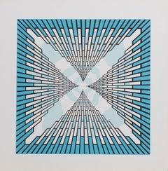 Skyscrapers, OP Art silkscreen by Roy Ahlgren