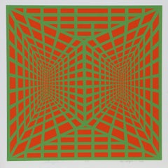 """Stereopsis I"", 1973, OP Art Silkscreen by Roy Ahlgren"