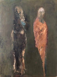 Figures: deux / oil and alkyd on linen over wood panel.