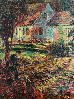 Figure and House, American Impressionist Autumn Landscape, Signed and Dated