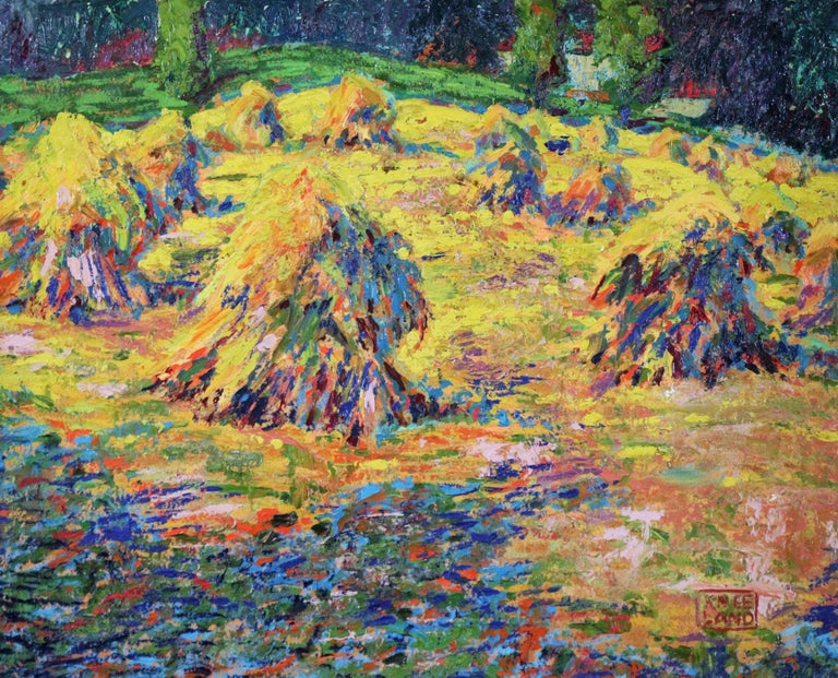 Haystacks, Pennsylvania Impressionist Autumn Landscape, Signed and Framed - American Impressionist Painting by Roy C. Kneeland