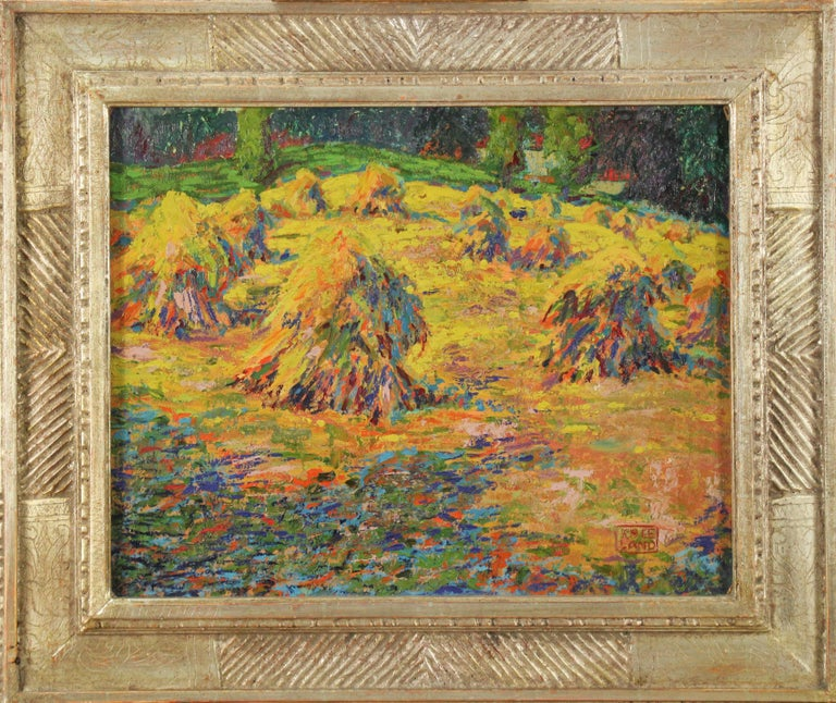 Roy C. Kneeland Landscape Painting - Haystacks, Pennsylvania Impressionist Autumn Landscape, Signed and Framed