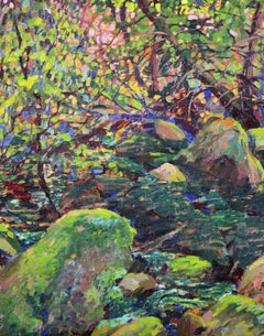 Stream with Rocks, American Impressionist Summer Landscape, Oil on Board