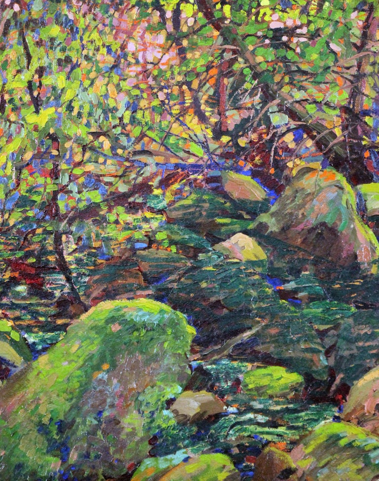 Roy C. Kneeland Landscape Painting - Stream with Rocks, American Impressionist Summer Landscape, Oil on Board