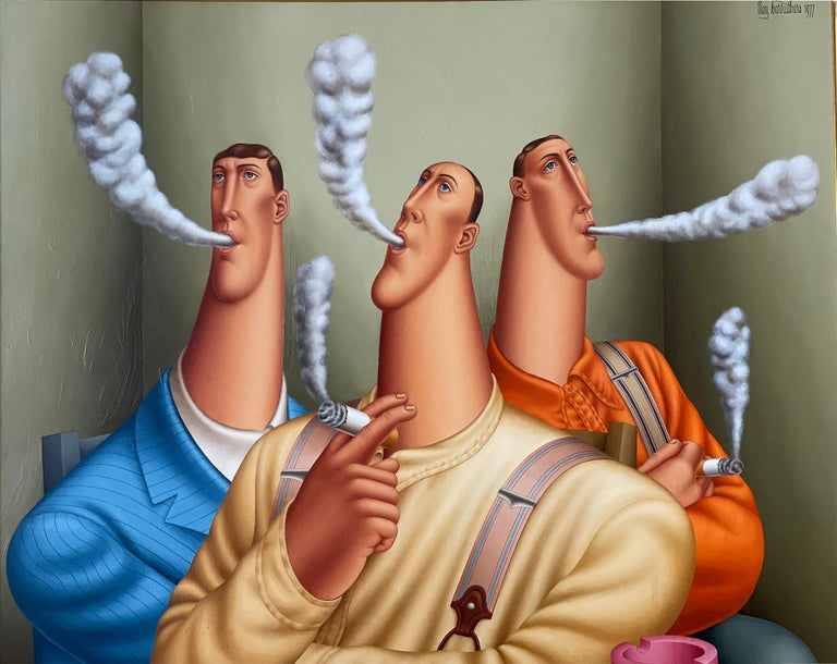 Three Smokers, Roy Carruthers - Surrealist Painting by Roy Carruthers