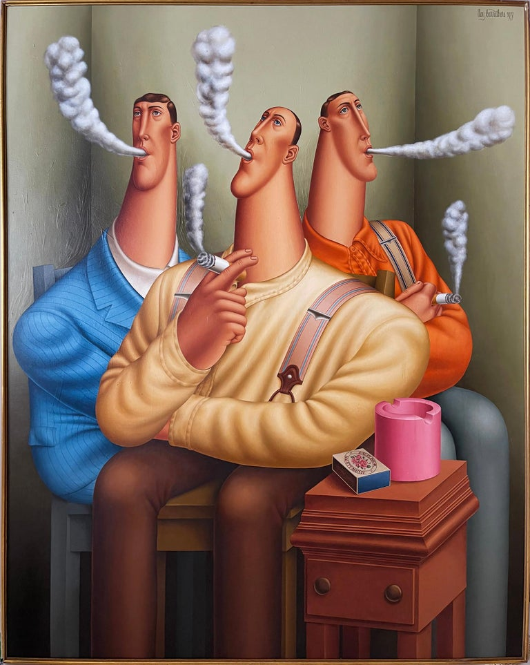 Three Smokers, Roy Carruthers - Painting by Roy Carruthers