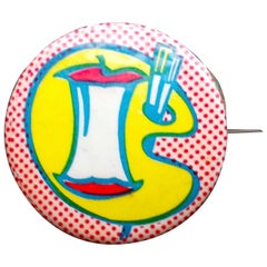 "Roy Lichtenstein 1960s Pop Art Pin ""Artists for C.O.R.E"""