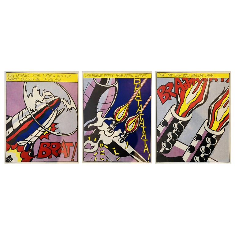 """Roy Lichtenstein, """"As I Opened Fire, 1964""""  Triptych For Sale"""