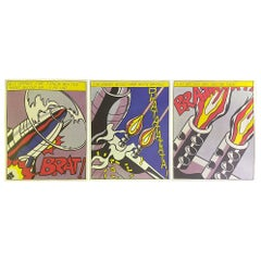 "Roy Lichtenstein Hand Signed Triptych Prints ""As I Opened Fire"" Stedelijk Museum"