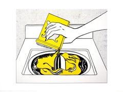 1998 Roy Lichtenstein 'Washing Machine' Pop Art Yellow,White,Black USA Offset