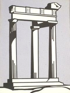 1964 Roy Lichtenstein 'Temple' Pop Art Gray USA Offset Lithograph