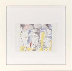 1974 Roy Lichtenstein 'Sailboats' Offset Lithograph Framed