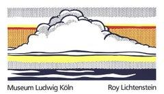 1989 After Roy Lichtenstein 'Cloud And Sea' Pop Art White,Yellow,Orange,Gray