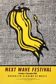 2002 Roy Lichtenstein 'Next Wave Festival' Pop Art Yellow,Gray USA Offset Lithog
