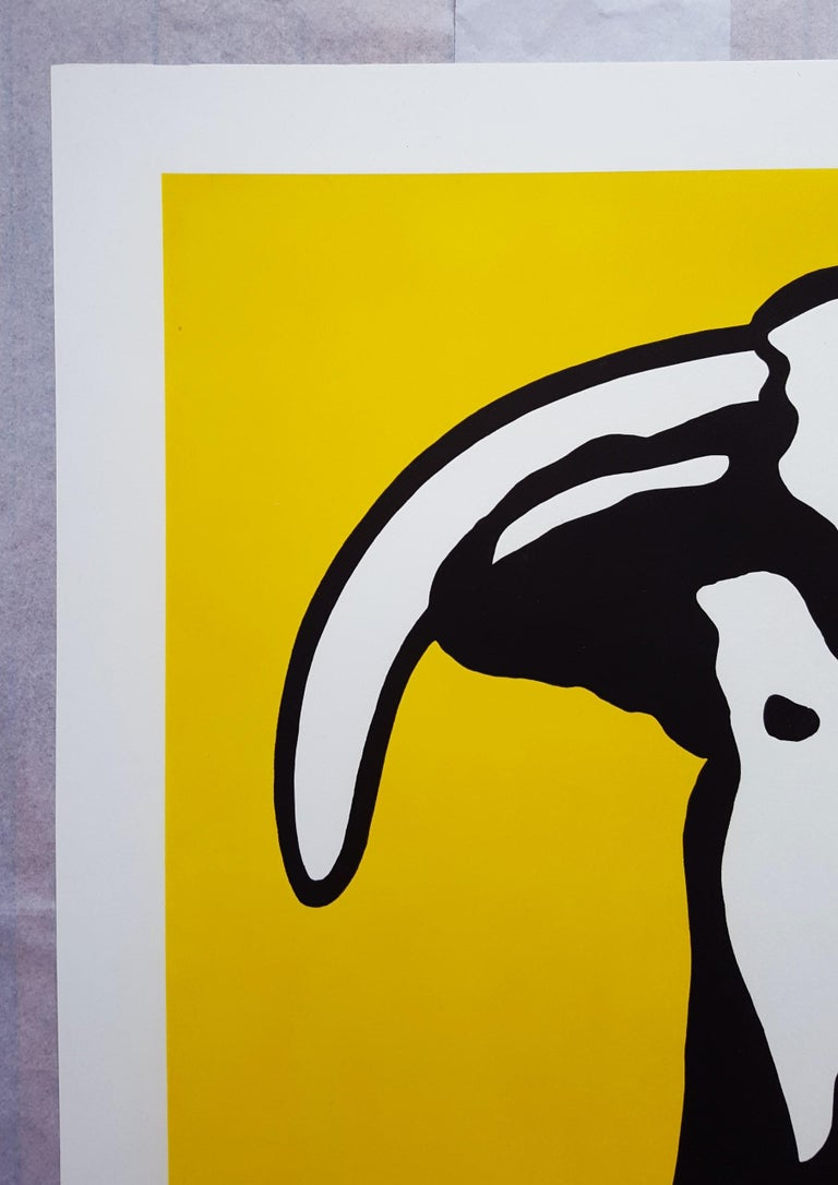 Bull Head I - Orange Animal Print by Roy Lichtenstein