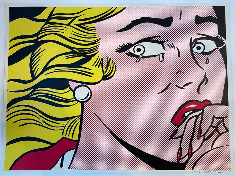 Roy Lichtenstein Portrait Print - Crying Girl