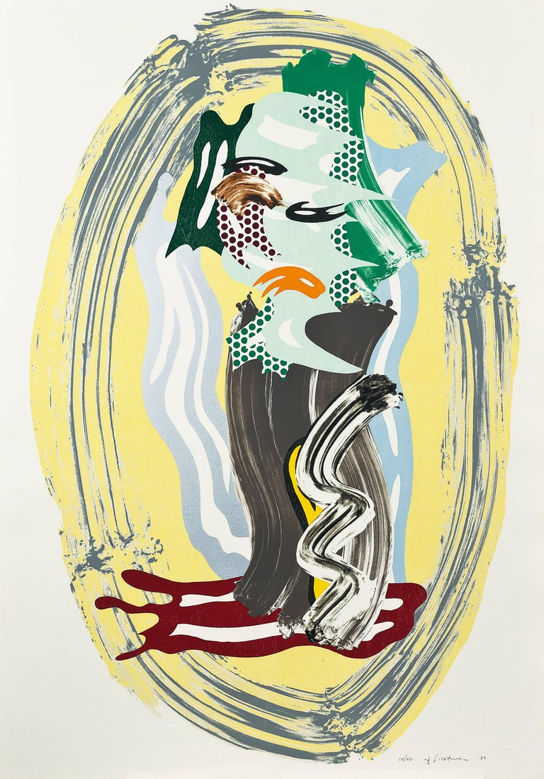Roy Lichtenstein Abstract Print - Green Face, from Brushstroke Figures Series