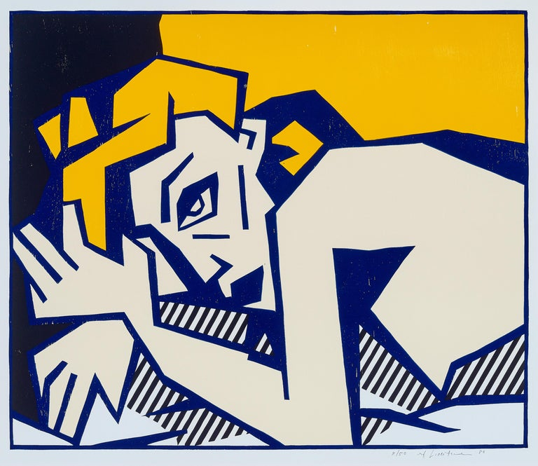 Reclining Nude, from Expressionist Woodcut Series 1980 - Print by Roy Lichtenstein