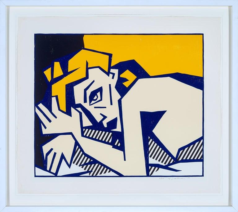 Roy Lichtenstein Portrait Print - Reclining Nude, from Expressionist Woodcut Series 1980