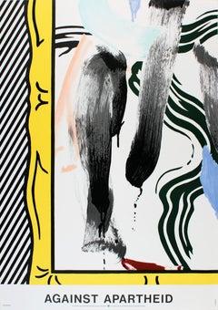 """Against Apartheid-33.5"""" x 23.5""""-Lithograph-1983"""