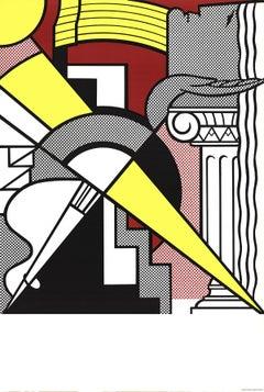 "Roy Lichtenstein-Arrow and Column-37.5"" x 25""-Lithograph-1967-Pop Art-Multicolor"